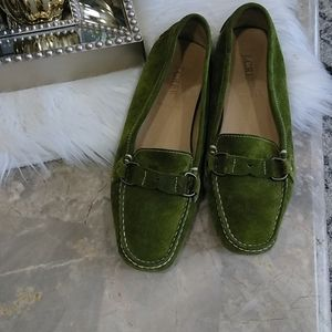 J.Crew green suede made in Italy loafers size 7